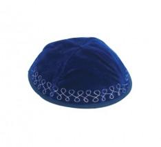 Kipah veludo azul royal - Bordado prata