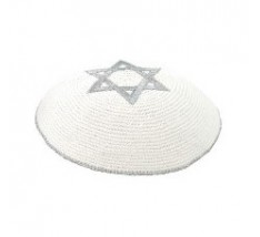 Kipah de Crochê branco - Estrela de Davi prateada