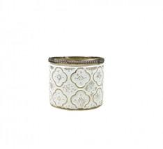 Castiçal de vidro branco e dourado envelhecido
