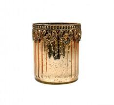 Castiçal Dourado Envelhecido de Vidro e Zamac