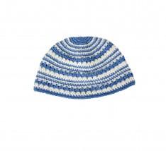 Kippah 22 cm- Azul com listra branca