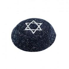 Kipah de crochê azul marinho - Estrela de Davi prata