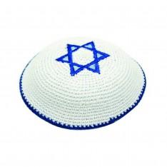 Kipah de crochê branco - Estrela de Davi zul turqueza