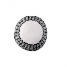 Kipah de crochê branco, cinza e preto