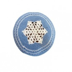 Kipah de crochê azul com estrela prateada