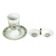 Conjunto de porcelana para kidush.
